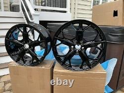 19/20 2021 Corvette C8 3LT OEM Wheels GM 14011 14012 BLACK Rims Complete Set