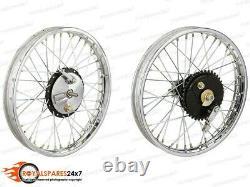 19 Half Width Hub Front& Rear Complete Wheel Rim Set Assembly Royal Enfield Bsa