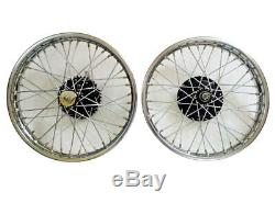 19 Wheel Rim Pair Complete With Spokes Half & Width Hub BSA Norton Enfield