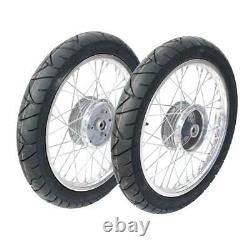 2 Complete Wheels Aluminium Rim Pas. For Simson S51 S50 KR51 Schwalbe Star Tyre
