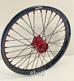 2004-2017 Honda Motocross Wheels Rims Black Red Complete 18/21 CRF250X CRF450X
