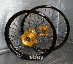 2007-2021 Suzuki RMZ250 RMZ450 Motocross Wheels Rims Black Gold Complete 19/21