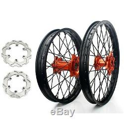 21 + 19 Complete Wheels Rims Brake Discs For KTM 125-530 EXC SX MXC SXS XC-F
