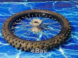 Complete Front Wheel Kawasaki DID Hub Spoke Black Rim Kit OEM Stock Assembly KX
