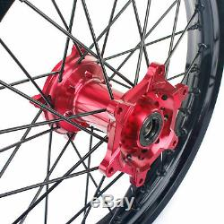 Complete WHEELS SET RED HUBS HONDA CR CRF 250 450 21 & 19 BLACK RIMS
