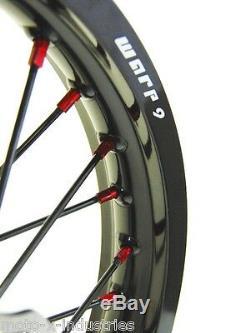 Complete Wheel Set Red Hubs & Nipples Honda Cr Crf 250 450 21 19 Black Rims