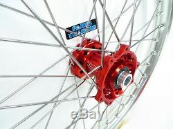 Dubya Complete Front Wheel Red Talon Hub Silver DID Rim Honda CRF 250/450 21x1.6