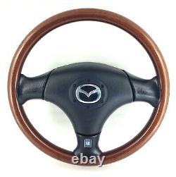 Genuine Mazda MX-5 MK2 Nardi dark wood rim steering wheel, complete. NB. 16C