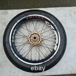 KTM LC4 640 1997-2007 Complete Front Wheel 120/70-17 Tyre Rim Hub SMC Supermoto
