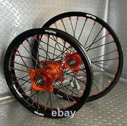 KTM SX85 Motocross Wheels Rims Black Orange Complete 16/19 Supemini Big wheels