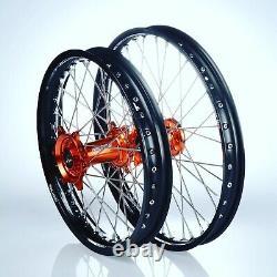 KTM SXF EXCF XCF Motocross Wheels Rims Black Orange Complete 18/21 125 250 450