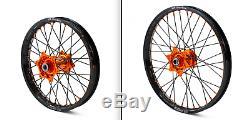 KTM Wheel Set Factory Billet Orange Hub Black DID Rim 19 Rear 21 Front Assembly