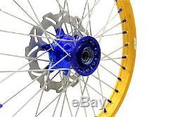 Kke 21 19 Cast MX Complete Wheel Set Fit Yamaha Yz125 Yz250 2017-2020 Gold Rim