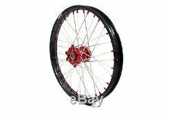Kke 21/19 Complete MX Wheel Rim For Honda Crf250r 2014-2019 Crf450r Red Nipple