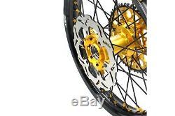 Kke 21 19 Complete MX Wheels Rims Fit Suzuki Rm125 Rm250 2001-2008 Black Spoke