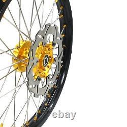 Kke 21 19 Complete MX Wheels Rims Fit Suzuki Rm125 Rm250 2001-2008 Gold Nipple