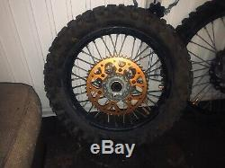 Ktm Exc / Sx front & rear takasaga excel rims, 21& 18 complete wheels