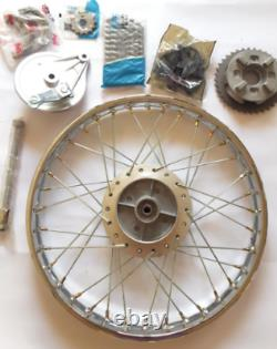 Motorcycle complete rear wheel, spindle, brake drum and kush drive for honda cub