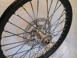 New Complete KTM 21 front Wheel, Black Rim, black spokes, Aluminum hub withDisk