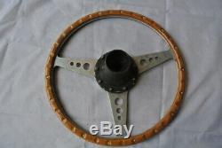 Period 15 Moto Lita Wood Rim Steering Wheel. Complete with Jaguar Boss