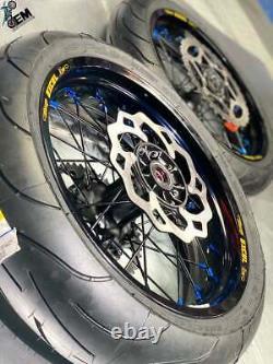 Supermoto Wheel Set Excel Black A60 Rims OEM Spokes Billet Hubs Assembly