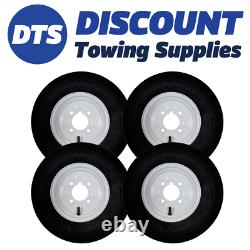 Trailer Wheel Rim & Tyre Complete 480/400 x 8 inch 4 Ply 4 x 4 inch PCD White x4
