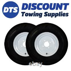 Trailer Wheel Rim and Tyre Complete 145R10 2x2 Ply 4 x 4 inch PCD White x 2