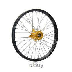 Tusk Complete Wheel Front 21x1.60 Black Rim/Yellow Hub Suzuki RMZ250 RMZ450