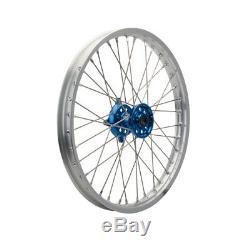 Tusk Complete Wheel Front 21x1.60 Silver Rim/Blue Hub KX125 KX250 KX250F KX450F