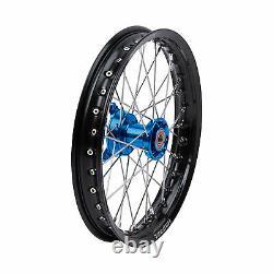 Tusk Impact Complete Wheel Front 14 x 1.60 Black Rim/Silver Spoke/Blue Hub