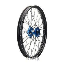 Tusk Impact Complete Wheel, Front 21 Black Rim/Blue Hub-Kawasaki KX250F/KX450F