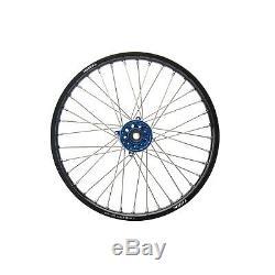 Tusk Impact Complete Wheel, Front 21 Blk Rim/Blue Hub-Kawasaki KX125/kx250 04-07