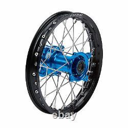 Tusk Impact Complete Wheel Rear 14 x 1.60 Black Rim/Silver Spoke/Blue Hub