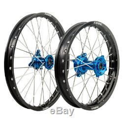 Tusk Impact Front Rear Complete Wheel Kit Black Rim Blue Hub Kawasaki KX85 KX100