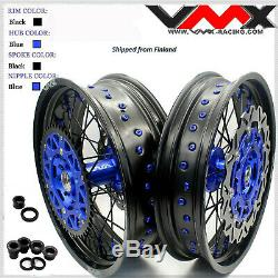 VMX 3.5/5.0 Complete Supermoto Wheels Rims For Yamaha Wr250f 01-19 Wr450f Blue