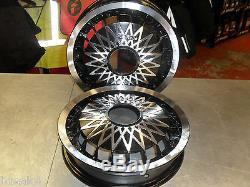 Vespa Px 125 200 Black Diamond Genuine Italian Split Rim Wheels Complete