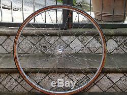 Vintage Complete front wheel pista hub Campagnolo Record rim Nisi