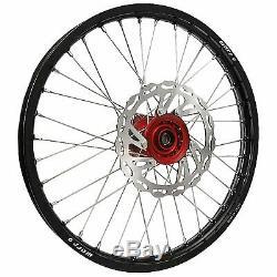 Warp 9 Complete Wheel Kit Front 21 x 1.60 Black Rim/Red Hub/Silver Spokes