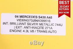 00-06 Mercedes W220 S430 Jeu Complet De Pneus Pour Jante De Roue Avant Et Arrière 7.5jx17h2 A45