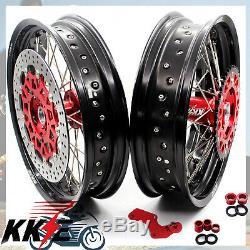 17 Kke Supermoto Rim Complet Jeu De Roues Pour Honda Crf250r 04-13 Crf450r 02-2012
