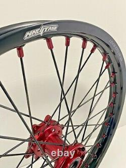 2004-2017 Roues Honda Motocross Rims Noir Rouge Complete 18/21 Crf250x Crf450x