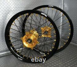 2007-2022 Rmz250 Rmz450 Roues Suzuki Motocross Rims Black Gold Complete 19/21