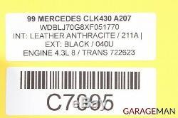 98-03 Mercedes W208 Clk430 Jeu Complet De Jantes Pour Pneus De Roues Avant Et Arrière Oem