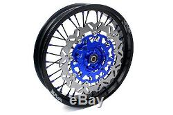 Complete Supermoto Roues VMX 3.5 / 5.0 Jantes Pour Yamaha Wr250f 01-19 Wr450f Bleu