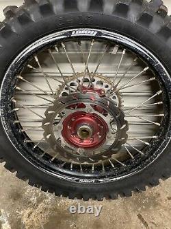 Honda Crf 450 R 2014 Talon Complet / Noir / Rouge Jeu De Roues Dics Spacers Pneu