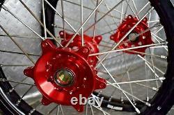 Honda Crf250 Crf450 Motocross Roues Jantes Noir Rouge Complète 18/21 Crf 250 450rx