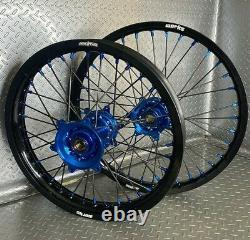 Jantes Kawasak Motocross Noir Bleu Complet 19/21 Kx250f Kx450f Kx 250 450