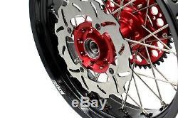 Kke 17 Pouces Supermoto Complet Rim Roue Set Honda Xr650r 2000-2008 Cnc Disc