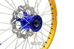 Kke 21 19 Complete Cast Wheels Set Fit Yamaha Yz125 Yz250 1999-2016 Gold Rims