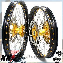 Kke 21 19 Complete MX Wheels Rims Fit Suzuki Rm125 Rm250 2001-2008 Mamelon D'or